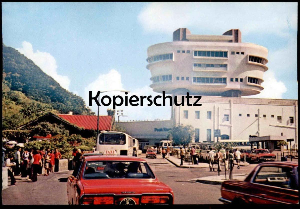POSTKARTE HONG KONG PEAK TOWER TAXI Nr. 5 Droschken Taxen Station Busbahnhof cab postcard cpa Ansichtskarte AK