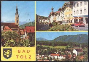 ÄLTERE POSTKARTE BAD TÖLZ mit Tengelmann Ford Fiesta VW Golf Volkswagen Wappen Blason Coat of arms cpa postcard AK
