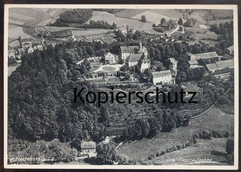 ALTE POSTKARTE SCHLOSS HARTENSTEIN IM ERZGEBIRGE BURG ORIGINAL FLIEGERAUFNAHME Luftbild postcard Ansichtskarte
