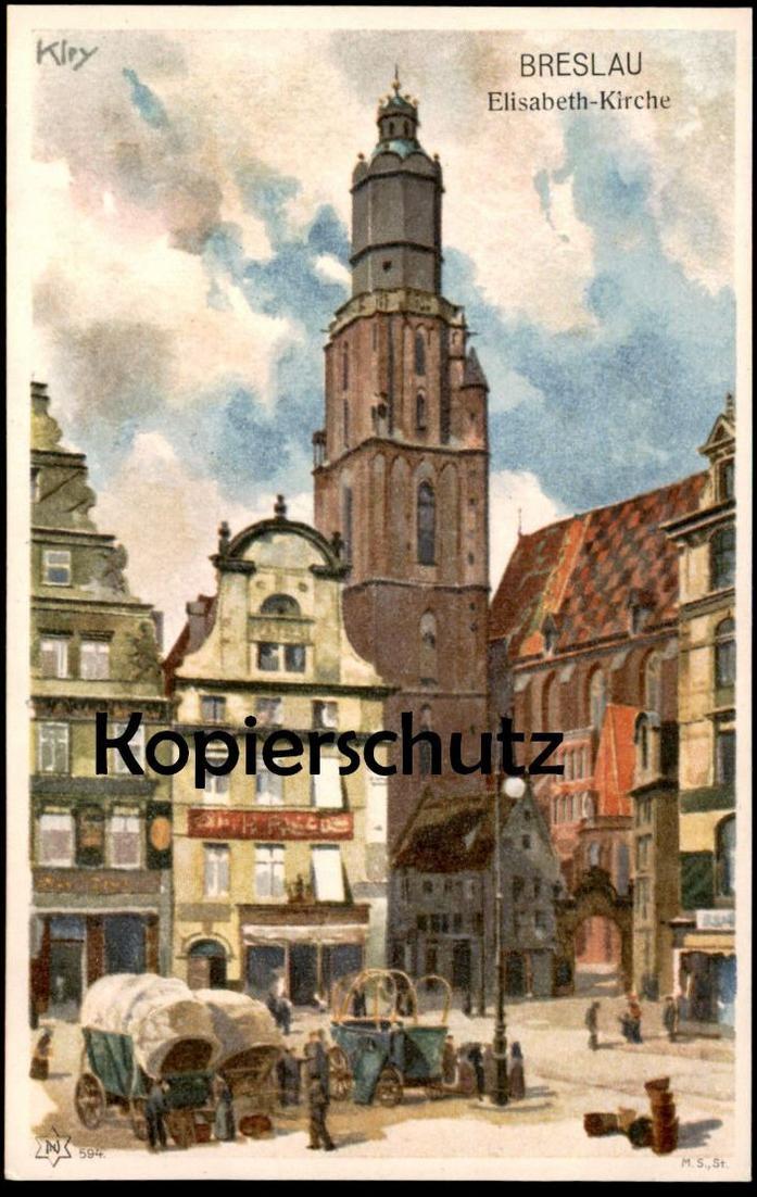 ALTE KÜNSTLER-POSTKARTE BRESLAU ELISABETH-KIRCHE Sign. Heinrich Kley Wroclaw Brassel Schlesien postcard Ansichtskarte AK