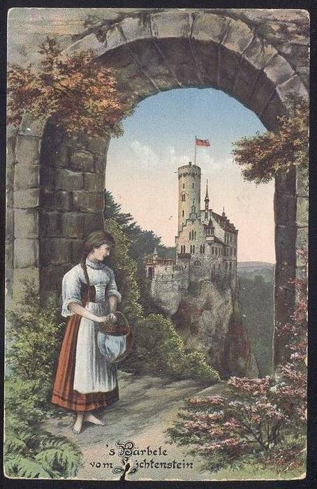 alte postkarte s b rbele vom lichtenstein honau kreis reutlingen schloss castle chateau cpa. Black Bedroom Furniture Sets. Home Design Ideas