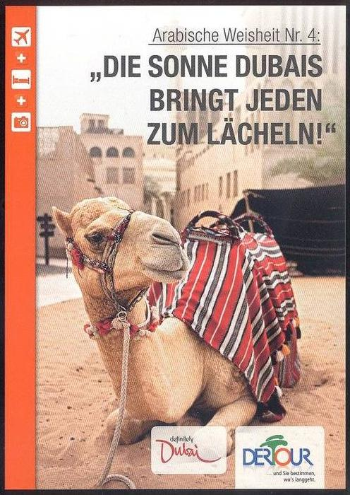 POSTKARTE DUBAI KAMEL Die Sonne Dubais bringt jeden zum Lächeln Camel Chameau cpa postcard AK Ansichtskarte