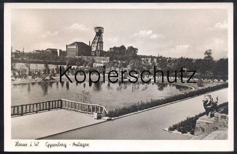 ÄLTERE AK HERNE GYSENBERG-ANLAGEN ZECHE coal mine de charbon exploitation Bergbau coal mining Löwe Lion Monument Denkmal