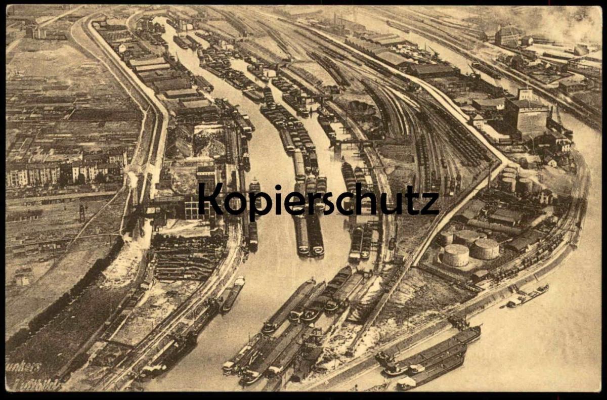 ALTE POSTKARTE DUISBURG JUNKERS LUFTBILD FLIEGERAUFNAHME HAFEN Frachtschiff Cargo Ship Schiff freight ship cpa postcard