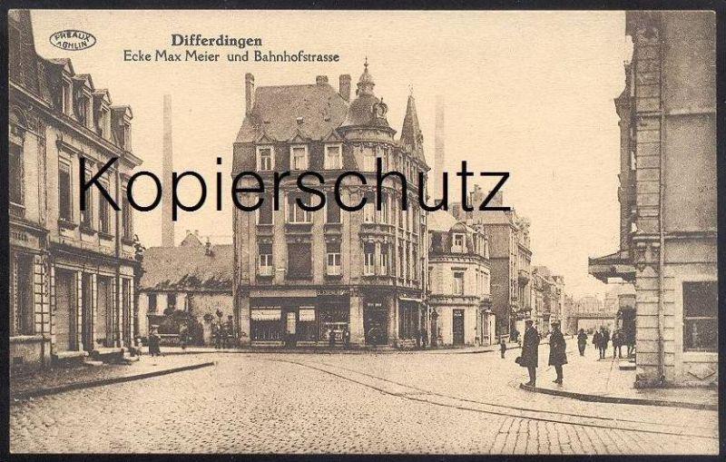 ALTE POSTKARTE DIFFERDINGEN ECKE MAX MEIER & BAHNHOFSTRASSE DIFFERDANGE Luxemburg Luxembourg Ansichtskarte cpa postc