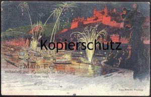 ALTE LITHO POSTKARTE FRANZ SCHEINER MAIN-FEST WÜRZBURG KAISERTAGE FEUERWERK FIREWORKS Feu d´artifice Wuerzburg cpa AK