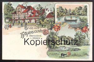 ALTE LITHO POSTKARTE GRUSS AUS HÖPKENSRUH OBERNEULAND BEI BREMEN Ziege Goat Chèvre postcard cpa AK Ansichtskarte