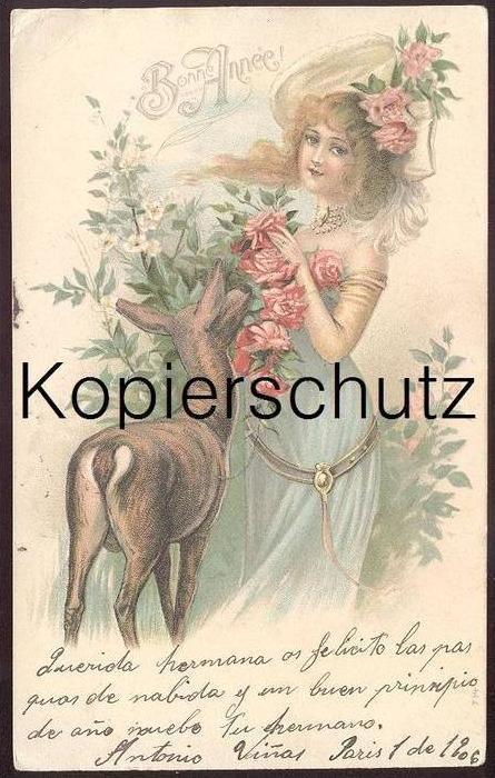 ALTE PRÄGE-POSTKARTE REH & FRAU Chevreuil & Femme Cervo & Woman Bonne Année cpa gaufrée gauffrée embossed Ansichtskarte