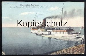 ALTE POSTKARTE CUXHAVEN DAMPFER CUXHAVEN BEI DER ABFAHRT VON DER ALTEN LIEBE Raddampfer bateau à vapeur Steamship Ship