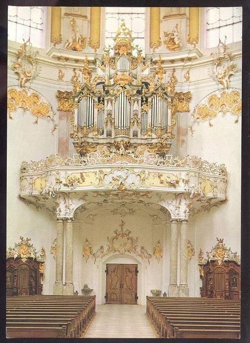POSTKARTE ETTAL ABTEIKIRCHE ORGEL J. G. Herterich 1768 interieur l´eglise orgue organ cpa postcard AK Ansichtskarte
