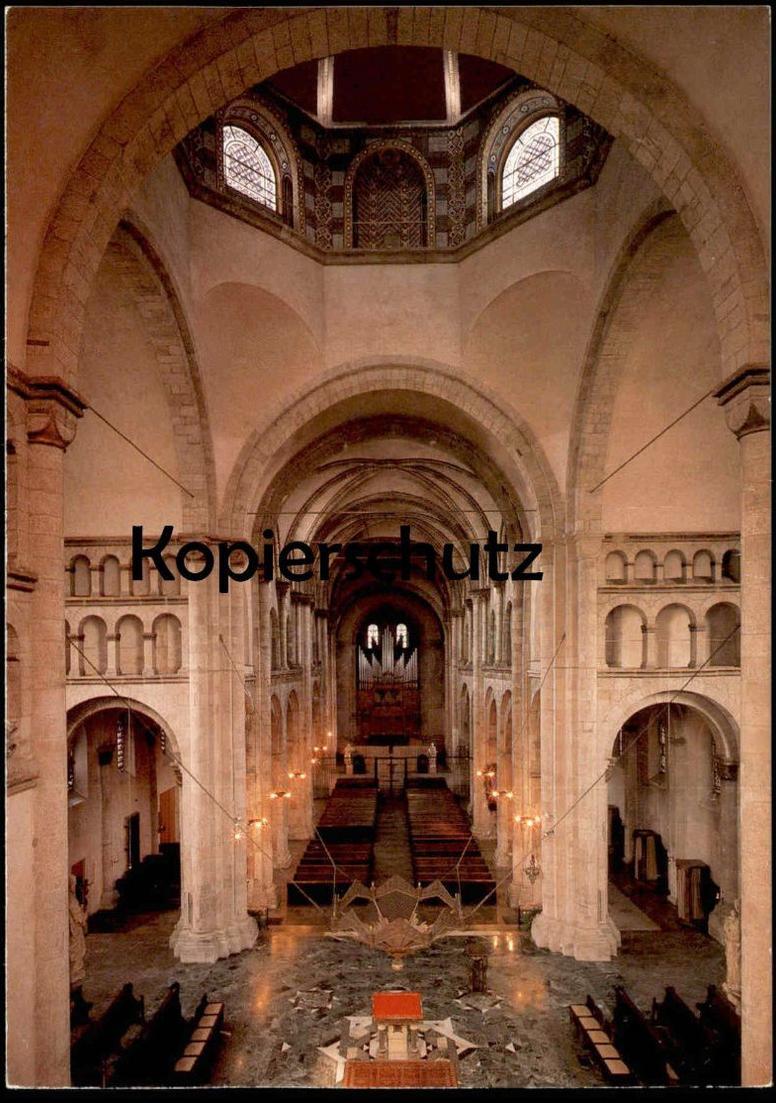 POSTKARTE KÖLN ST. APOSTELN Dreikonchenchor durch das Mittelschiff ORGEL interieur l´eglise orgue organ cpa postcard AK