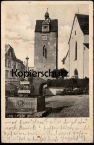 ALTE POSTKARTE ISNY IM ALLGÄU 1943 WASSERTOR mit Brunnen Flagge 3. Reich cpa postcard AK Ansichtskarte