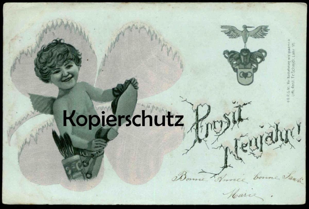 ALTE POSTKARTE ENGEL ANGEL AMOR ANGE Herz heart coer cigogne Prosit Neujahr Bonne année feuille de trèfle argent cpa AK