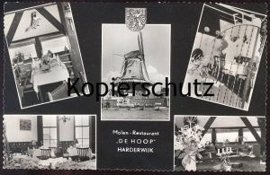 ÄLTERE POSTKARTE HARDERWIJK MOLEN-RESTAURANT DE HOOP Holland Nederland Windmühle Mühle Mill Moulin Windmill cpa postcard