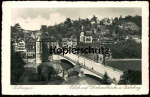 ALTE POSTKARTE TÜBINGEN 1927 BLICK AUF EBERHARDBRÜCKE & OESTERBERG Tuebingen cpa postcard AK Ansichtskarte