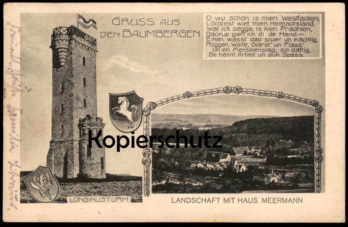 ALTE POSTKARTE GRUSS AUS DEN BAUMBERGEN LONGINUSTURM HAUS MEERMANN NOTTULN HAVIXBECK BILLERBECK Baumberge cpa postcard