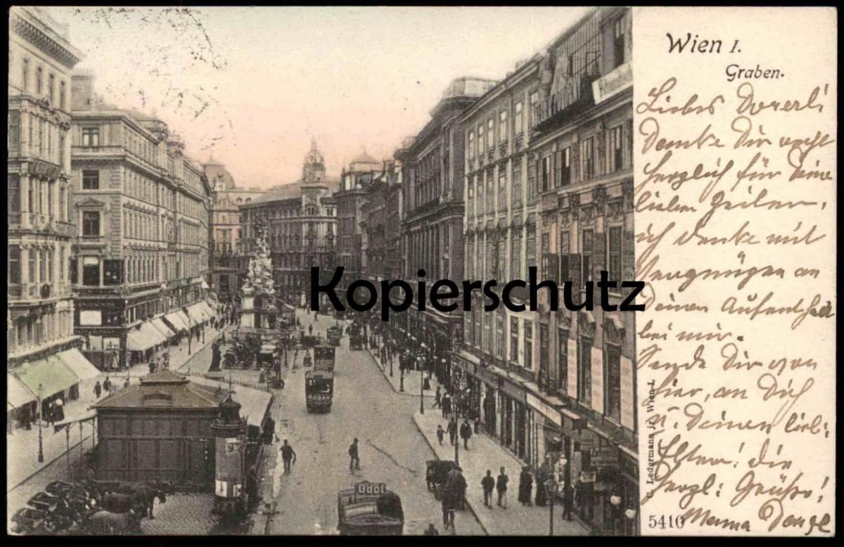 ALTE POSTKARTE WIEN GRABEN 1903 ODOL WERBUNG REKLAME Strassenbahn Tram tramway Austria Österreich Autriche cpa postcard