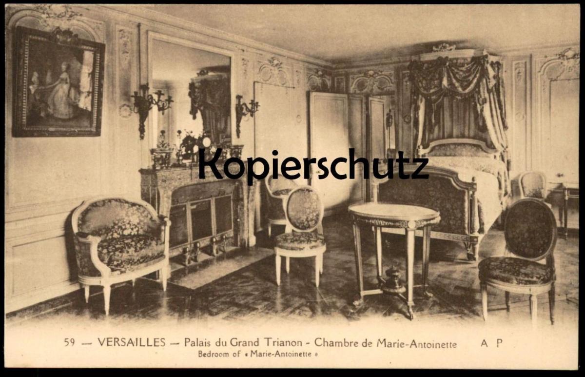 ALTE POSTKARTE VERSAILLES PALAIS DU GRAND TRIANON CHAMBRE DE MARIE ANTOINETTE bedroom Schlafzimmer cpa postcard AK