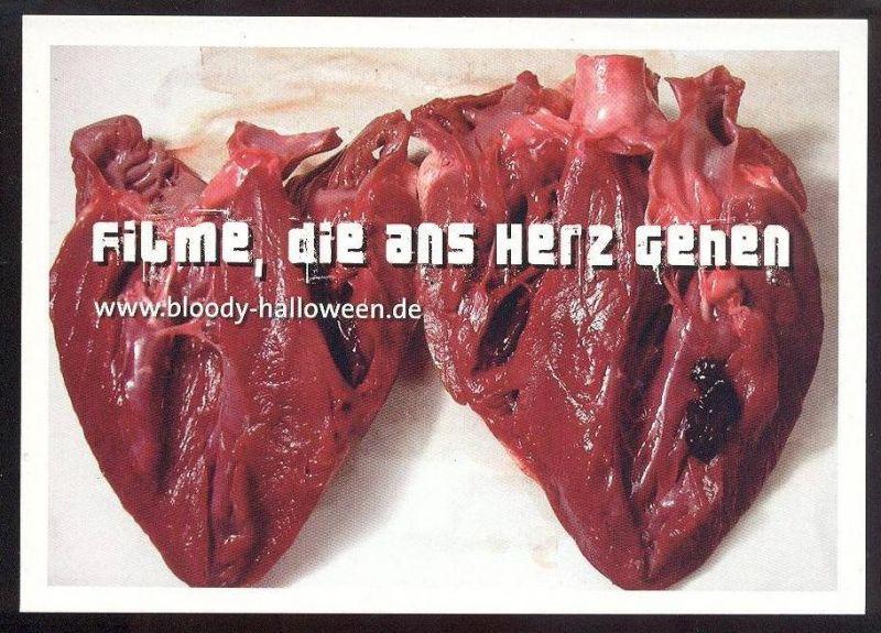POSTKARTE FILME DIE ANS HERZ GEHEN bloody halloween heart hearts médecine coer palpitant Medizin medicine cpa postcard