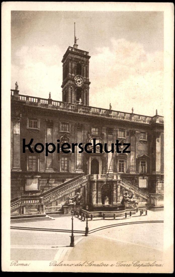 ALTE KARTE ROMA PALZAZZO DEL SENATORE E TORRE CAPITOLINA Kapitol Tabularium Michelangelo Lunghi Rom Rome Italy Italia AK