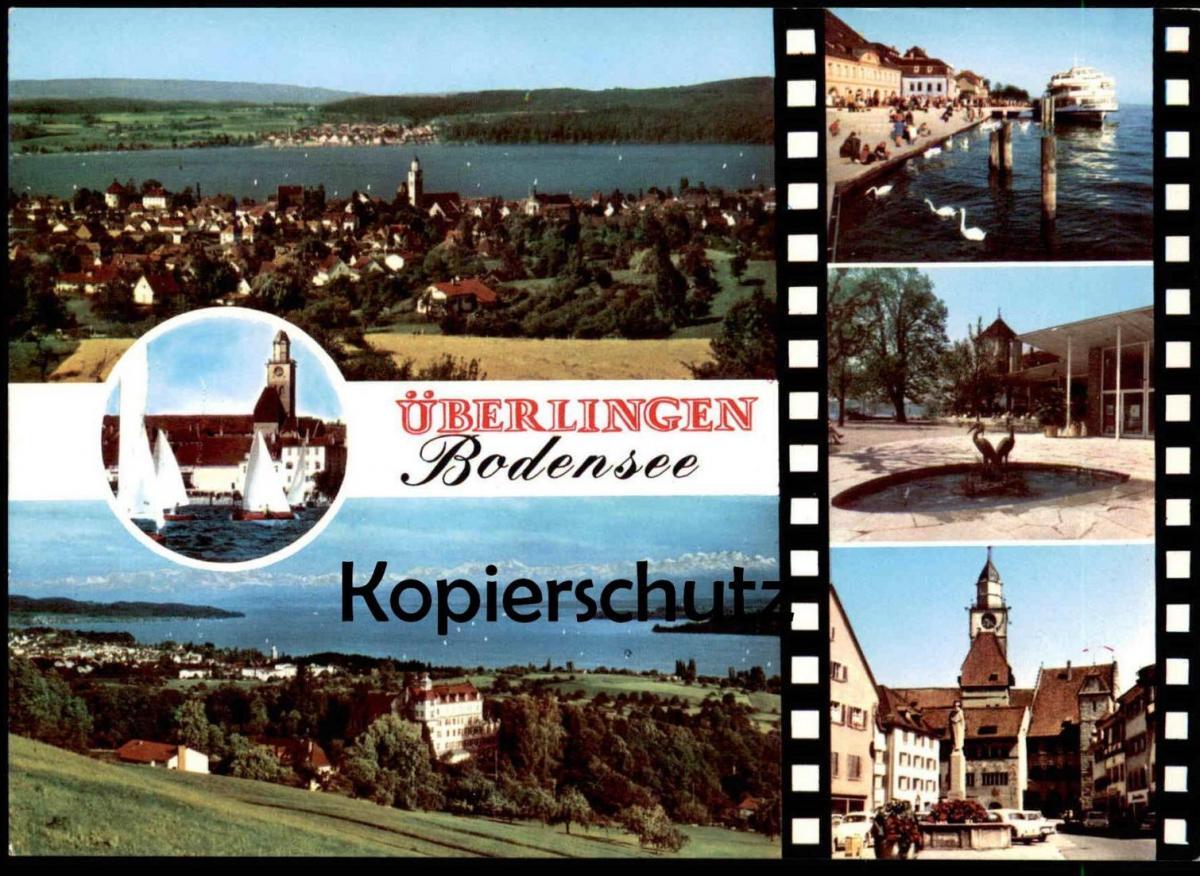 POSTKARTE KURSTADT ÜBERLINGEN BODENSEE mit Brunnen Schiff fontaine fountain Schwan cygne swan Ueberlingen cpa postcard