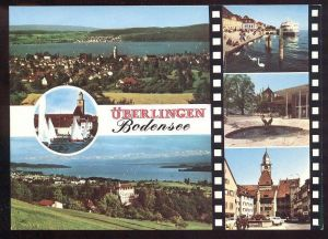 ÄLTERE POSTKARTE KURSTADT ÜBERLINGEN BODENSEE mit Brunnen Schiff fontaine fountain Schwan cygne swan cpa postcard