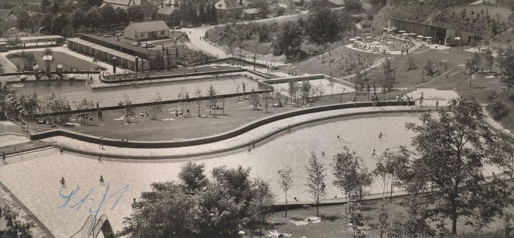 ltere postkarte lahr terrassenbad in der wolfsgurgel freibad outdoor swimming pool piscine en. Black Bedroom Furniture Sets. Home Design Ideas