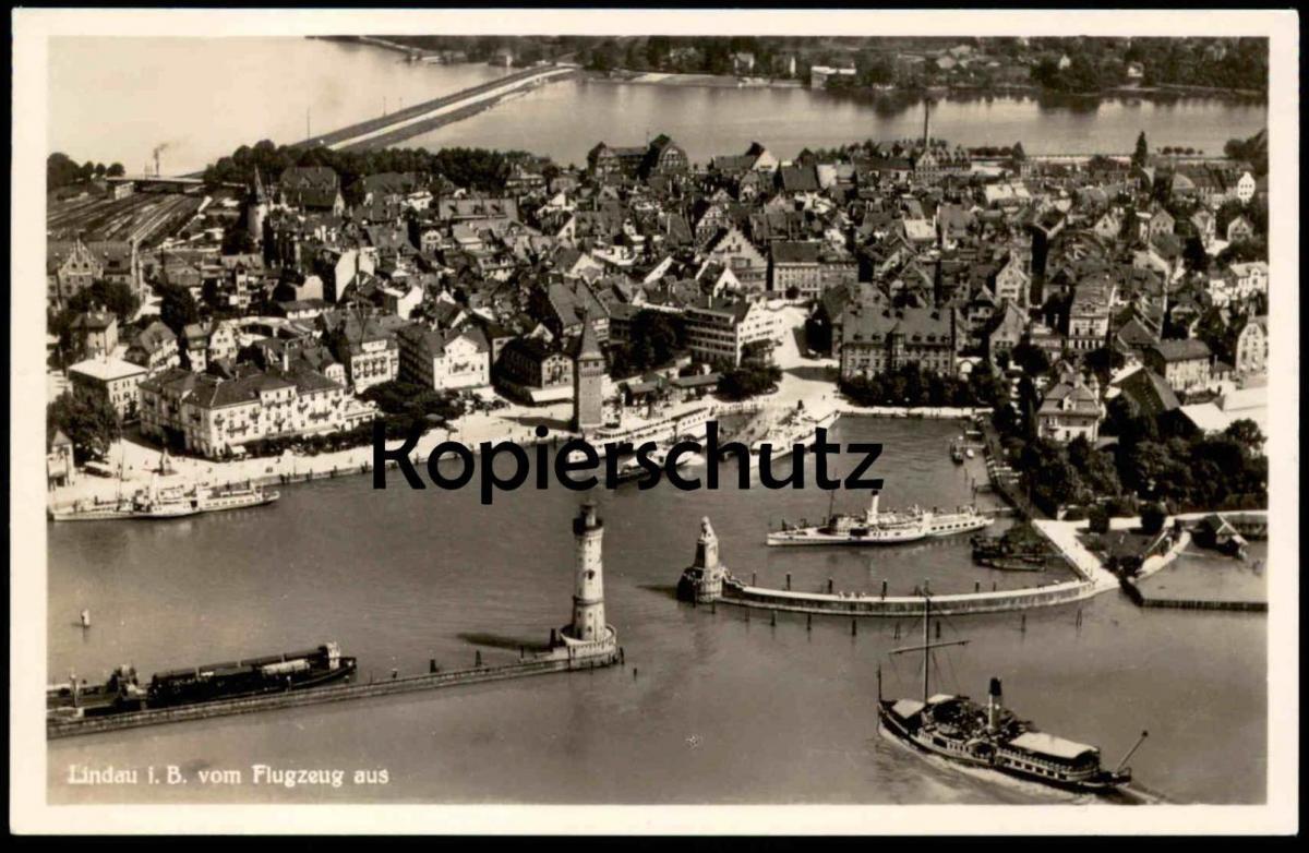ALTE POSTKARTE LINDAU Breisgau vom Flugzeug mit Schiffen Dampfschiff Leuchtturm steamship ships lighthouse phare cpa AK