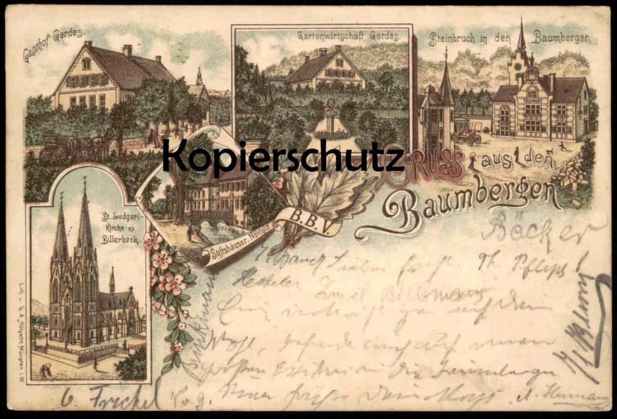ALTE LITHO POSTKARTE GRUSS AUS DEN BAUMBERGEN 1897 M. GERDES NOTTULN BILLERBECK Baumberge Steinbruch AK Ansichtskarte
