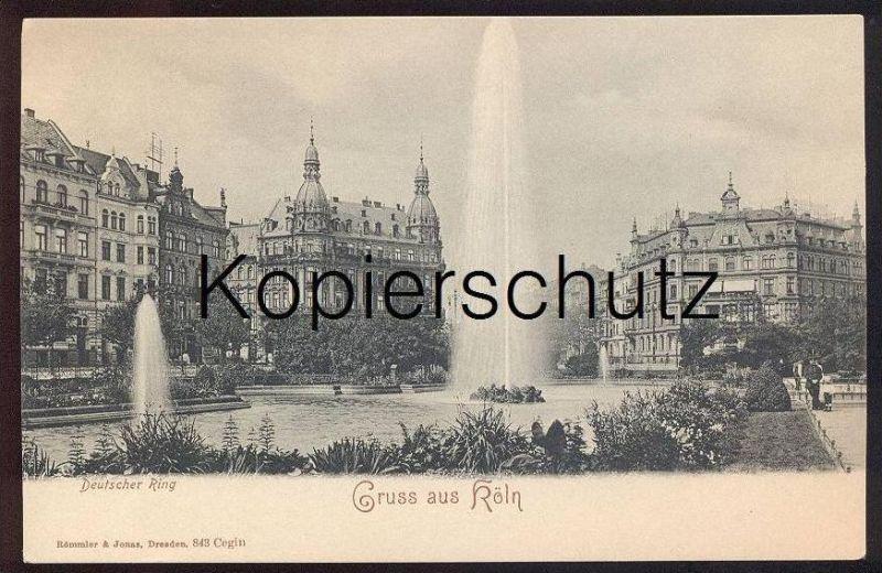 ALTE POSTKARTE GRUSS AUS KÖLN DEUTSCHER RING Cöln Fontaine fountain cpa postcard AK Ansichtskarte