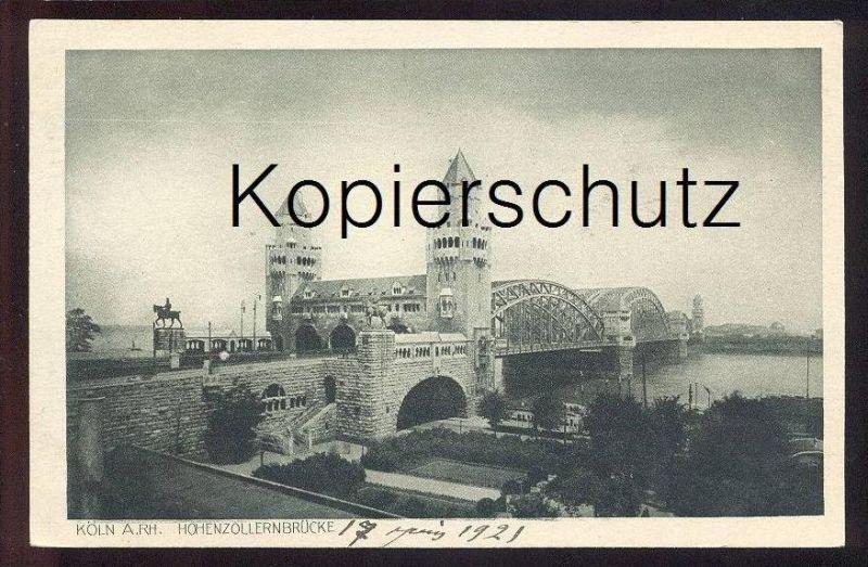 ALTE POSTKARTE KÖLN HOHENZOLLERNBRÜCKE Rheinuferbahn Brücke bridge pont cpa postcard Ansichtskarte