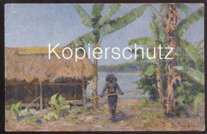 ALTE KÜNSTLER POSTKARTE PAPUA-NEUGUINEA SIGN. PETER PAUL MÜLLER Indigene Native cpa postcard AK colony colonie Kolonie