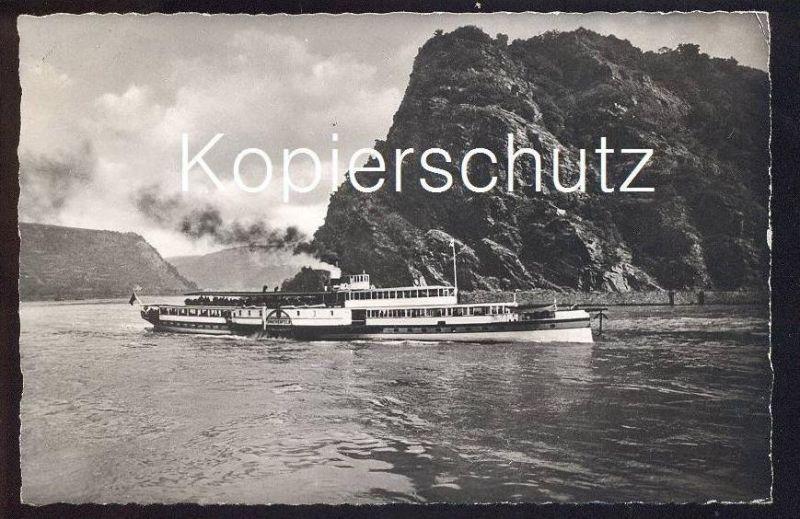 ÄLTERE POSTKARTE LORELEY MIT DAMPFER Drachenfels steam ship bateau à vapeur Schiff ship Köln-Düsseldorfer ? cpa postcard