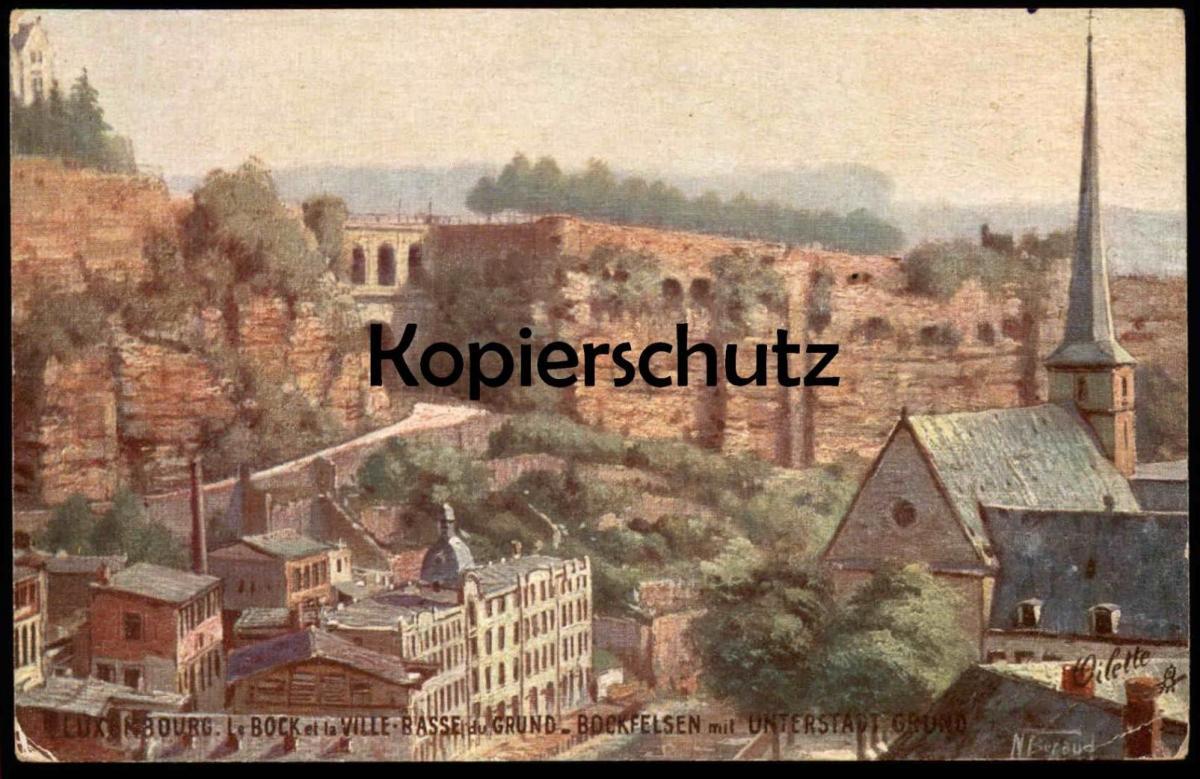 ALTE POSTKARTE LUXEMBOURG LE BOCK ET LA VILLE BASSE Oilette sign. Bernaud Luxembourg Primus Ansichtskarte cpa postcard