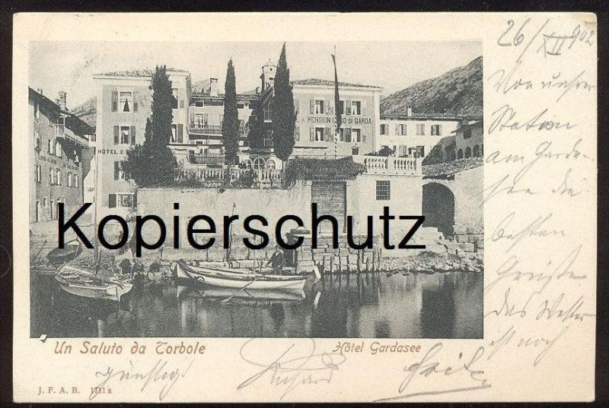 ALTE POSTKARTE UN SALUTO DA NAGO-TORBOLE HOTEL GARDASEE 1902 lago di garda Naag-Turbel AK Ansichtskarte cpa postcard