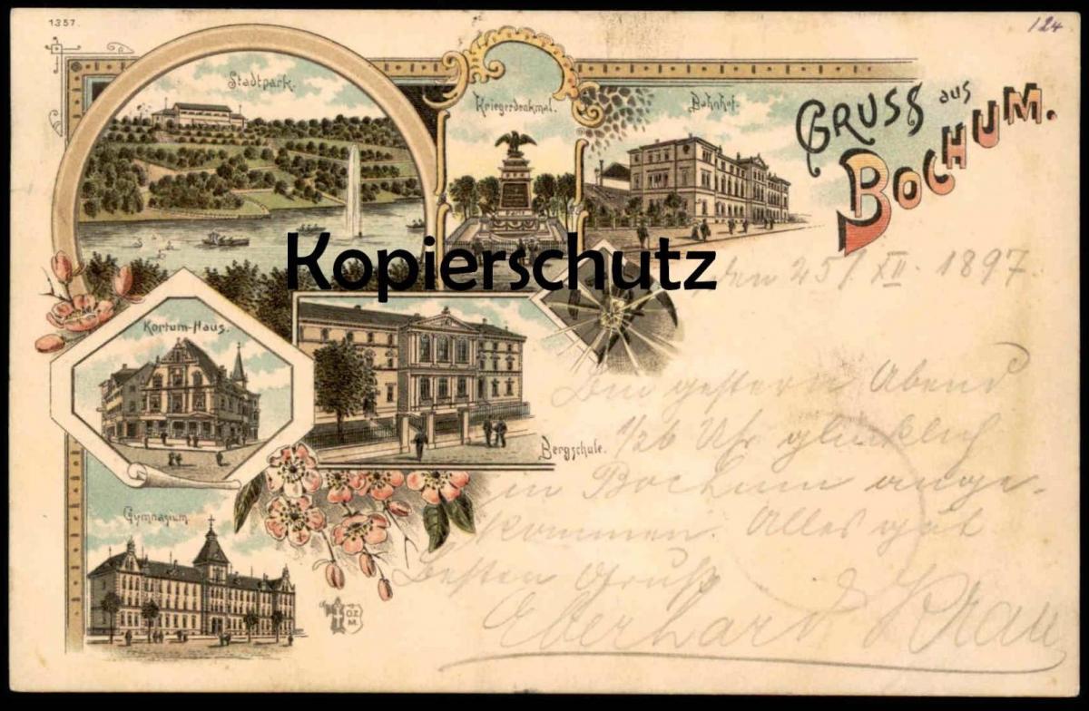 ALTE LITHO POSTKARTE GRUSS AUS BOCHUM 1897 mit Bahnhof Kortum-Haus Bergschule gare station cpa postcard AK Ansichtskarte