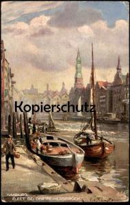 ALTE POSTKARTE FLEET BEI DER REIMERSBRÜCKE OILETTE RAPHAEL TUCK Postcard SERIE HAMBURG No. 699 Künstler F. v. Kamptz cpa
