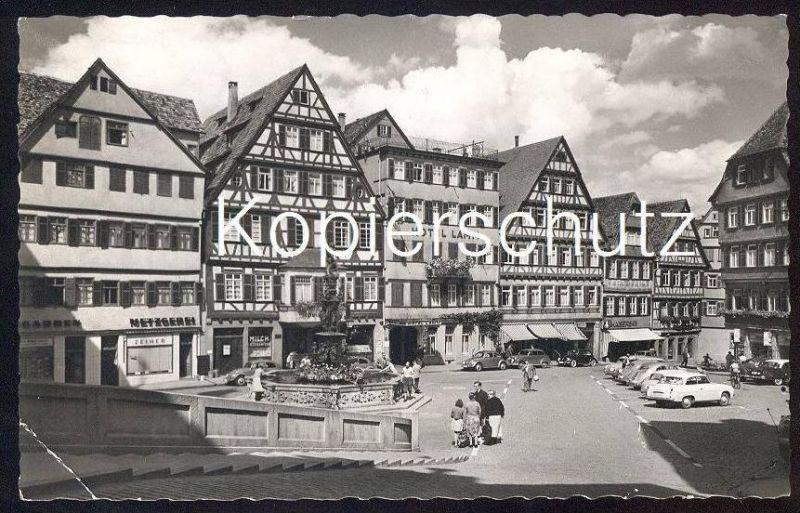 ÄLTERE POSTKARTE TÜBINGEN MARKTPLATZ Metzgerei Hotel Lamm Kaisers Auto VW Käfer Car Tuebingen Tubingen postcard cpa AK