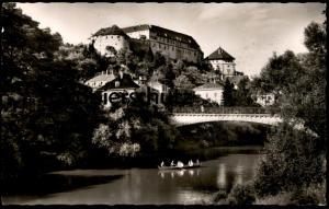 ÄLTERE POSTKARTE TÜBINGEN ALLEENBRÜCKE UND SCHLOSS mit Ruderer oar canotier AK Ansichtskarte postcard cpa