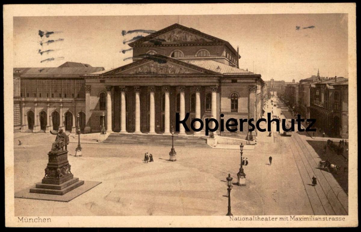 ALTE POSTKARTE MÜNCHEN NATIONALTHEATER mit Maximillianstrasse Theater théatre m. Straßenbahn Tram Tramway cpa postcard