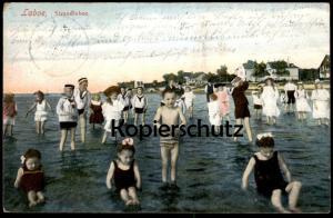 ALTE POSTKARTE LABOE KIEL STRANDLEBEN Strand beach plage Kinder enfants children bathing costume Ansichtskarte postcard