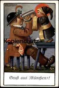 ALTE KÜNSTLER POSTKARTE GRUSS AUS MÜNCHEN SIGN. MAX LUBER Münchner Kindl Bier beer bière Ansichtskarte AK cpa postcard