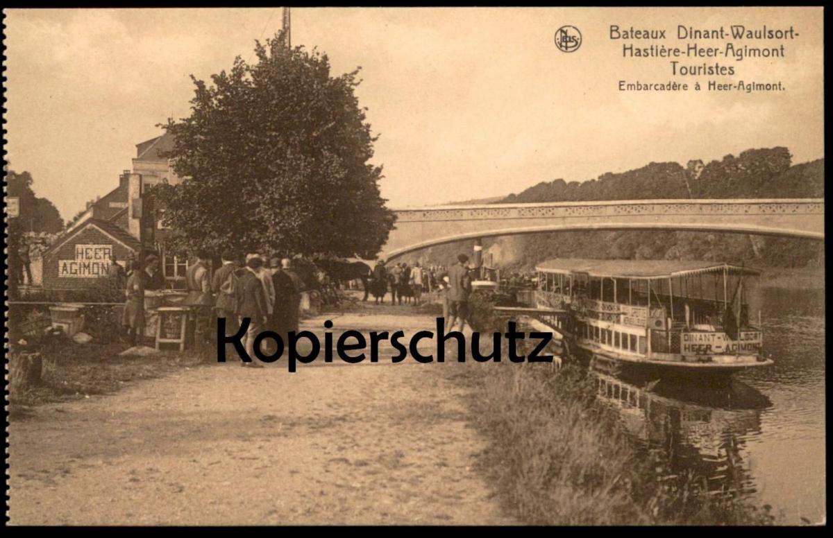 ALTE POSTKARTE BATEAUX DINANT-WAULSORT-HASTIÈRE- HEER-AGIMONT Meuse embarcadère ship Schiff Maas AK cpa postcard