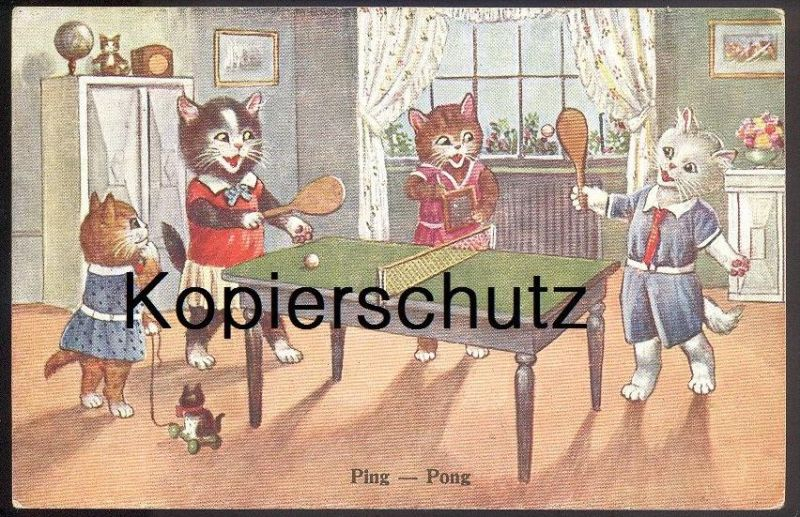 ALTE POSTKARTE KATZEN SPIELEN TISCHTENNIS Table tennis de table cat cats chat chats Katze globe cpa postcard