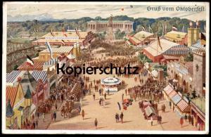 ALTE KÜNSTLER POSTKARTE MÜNCHEN GRUSS VOM OKTOBERFEST 1940 Flagge flag Achterbahn rollercoaster Munich Muenchen