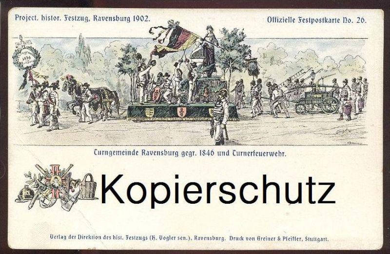 ALTE POSTKARTE RAVENSBURG FEUERWEHR corps de pompiers fire brigade Turner gymnast gymnaste Festzug 1902 postcard cpa