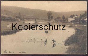 ALTE POSTKARTE VRESSE-SUR-SEMOIS LES BAINS Semi-nude men hommes Bad bath  Pferd Horse Cheval postcard cpa AK Feldpost