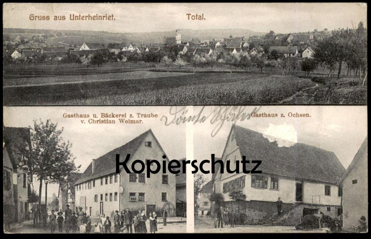 ALTE POSTKARTE UNTERHEINRIET Gasthaus Bäckerei Traube Ochsen bei Untergruppenbach Heilbronn Ansichtskarte postcard cpa