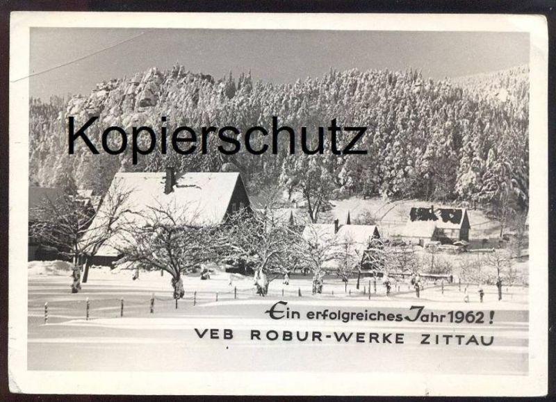 ALTE KARTE VEB ROBUR-WERKE ZITTAU ERFOLGREICHES 1962 Phänomen LKW camion lorry Werbekarte Winter hiver snow Schnee neige