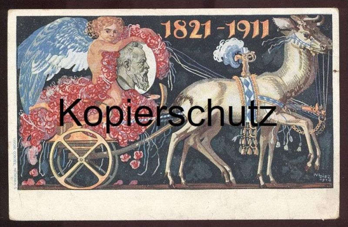ALTE POSTKARTE GANZSACHE KÖNIGREICH BAYERN 1911 sign. Diez Stempel Regensburg Kutsche Ansichtskarte AK postcard cpa